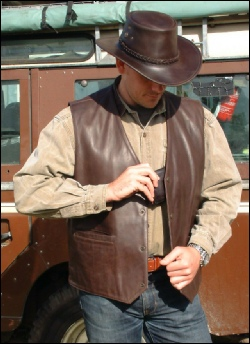 Brown Country Gilet showing wallet pocket