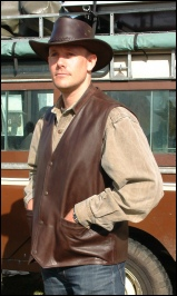 Brown Country Gilet hands in pockets